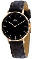 Daniel Wellington 'Classic Black' Quartz Gold and Leather Casual Watch, Color:Brown (Model: DW00100140)