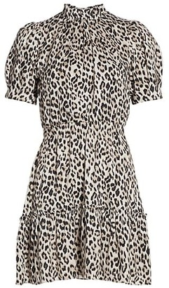 Alice + Olivia Vida Puff-Sleeve Leopard Mini Dress