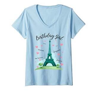 Womens Birthday Girl Paris Themed Birthday Party Eiffel Tower V-Neck T-Shirt