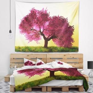 Design Art Designart 'Cherry Blossom in Beautiful Garden' Landscape Wall Tapestry