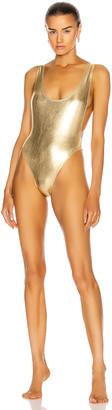 Norma Kamali Marissa Swimsuit in Gold Foil   FWRD