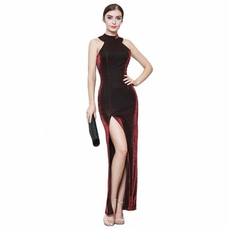 ROYAL SMEELA Evening Party Dress Women Bodycon Sleeveless Long Gown Dress Elegant Cocktail Slit Dresses Solid Color Invisible Zipper Off Shoulder Dresses Formal Gala Maxi Dress