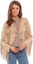 Glamorous Kate Fringe Jacket In Tan size S