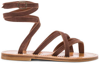 K. Jacques Zenobie Ankle Wrap Sandal in Velours Chocolat | FWRD