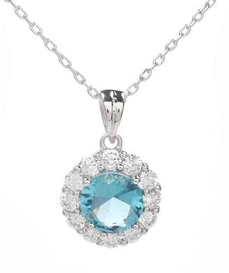 Savvy Cie Rhodium Plated CZ Drop Pendant Necklace
