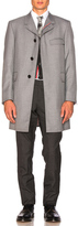 Thom Browne Classic School Uniform Twill Chesterfield Overcoat in Gray.
