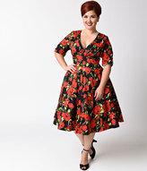 Unique Vintage Plus Size 1950s Black & Red Rose Half Sleeve Delores Swing Dress