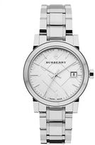 Burberry Ladies Stainless Steel Watch with Silver Check Dial