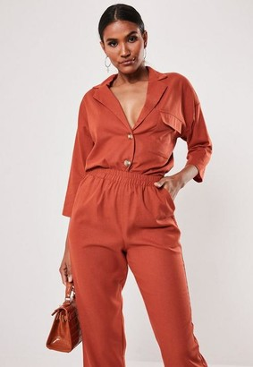 Missguided Co Ord Linen Look Horn Button Shirt