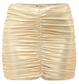 Lisa Marie Fernandez Ruched Metallic Jersey Mini Skirt - Womens - Gold