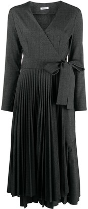 P.A.R.O.S.H. Long Sleeved Pleated Wrap Dress