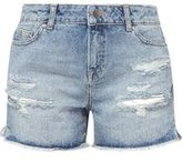 Dorothy Perkins Womens Petite Mid Wash Abrasion Knee Shorts- Blue