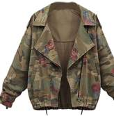 Zilcremo Women Vintage Floral Print Military Army Denim Jackets Outcoats Plus Size XXL
