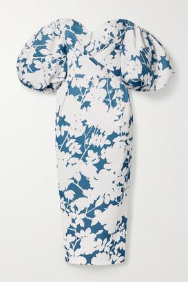 Rasario Off-the-shoulder Floral-print Satin Midi Dress - White