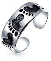 Bling Jewelry 925 Silver Midi Rings Beach Footprints Toe Ring Adjustable.