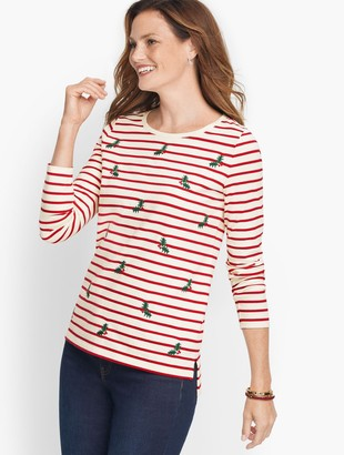 Talbots Embroidered Holly Stripe Tee