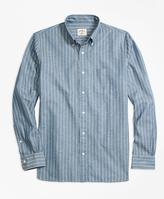 Brooks Brothers Striped Chambray Sport Shirt