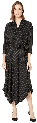 Lauren Ralph Lauren Collared Surplice Dress (Polo Black/Mascarpone Cream) Women's Clothing