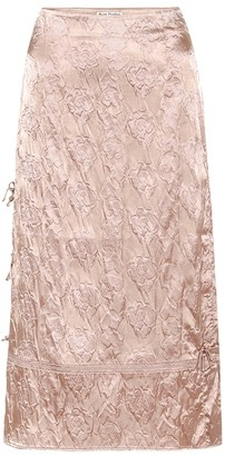 Acne Studios Floral-embossed satin midi skirt