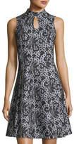 Donna Ricco Sleeveless Keyhole Lace-Print Dress