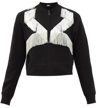 Bella Freud Stawcrawler Tasseled Zip-up Merino Wool Sweater - Black