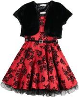 Knitworks Girl's 7-16 Skater Belted Dress Faux-Fur Bolero Jacket 2-Piece Set