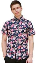 uxcell Allegra K Men Short Sleeve Button Down Floral Print Summer Shirt S Multi