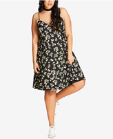 City Chic Trendy Plus Size Daisy-Print A-Line Dress