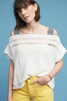 Maeve Gingham Ribbon-Sleeve Sweater