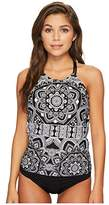 Jantzen Women's Black and White Medallion H-Back Tankini