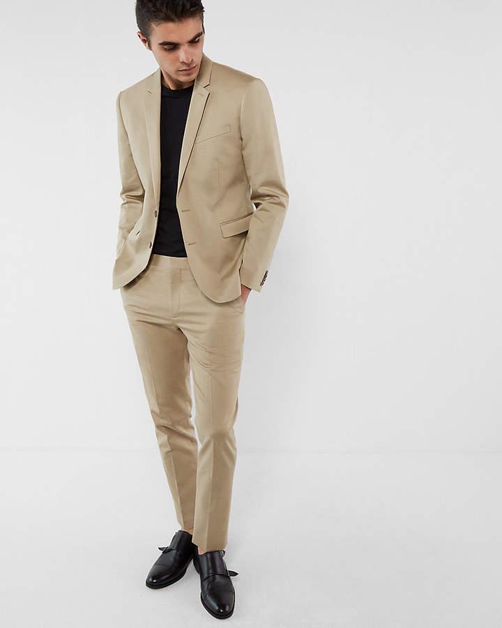 Express Extra Slim Khaki Cotton Sateen Suit Jacket