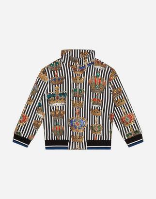 Dolce & Gabbana Zip-Up Jersey Sweatshirt With Crown Print