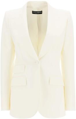 Dolce & Gabbana TURLINGTON JACKET IN WOOL NATTE' 42 White Wool