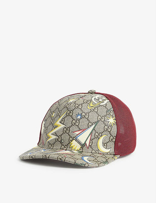 Gucci GG logo and space-print canvas cap