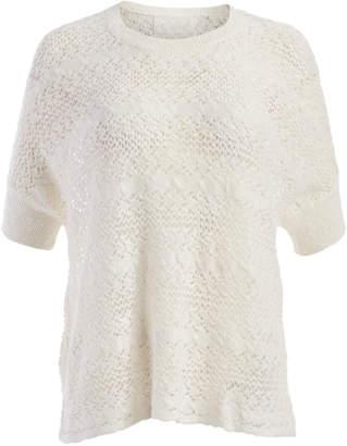 Colour Works by In Cashmere Women's Blouses WHITE - White Sheer Stripe Linen-Blend Dolman Top - Women
