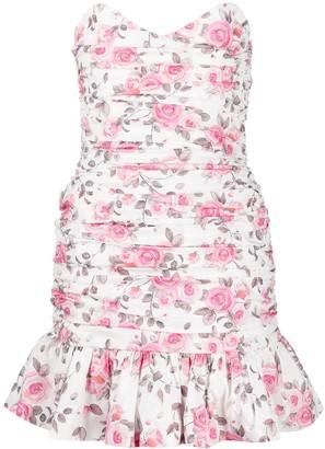 Giuseppe di Morabito Ruched Floral Print Mini Dress