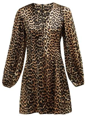 Ganni Blakely Leopard Print Silk Blend Mini Dress - Womens - Leopard