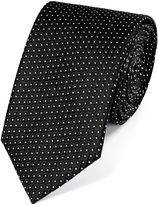 Charles Tyrwhitt Black and White Silk Neat Pattern Classic Tie