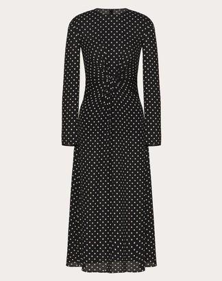 Valentino Printed Georgette Dress Women Black/ivory Silk 100% 40