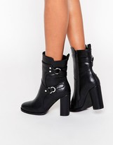 Park Lane Strap Ring Heeled Calf Boots