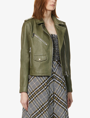 Whistles Agnes zip-through leather biker jacket