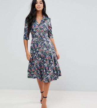 Yumi Petite Flower Print Button Dress