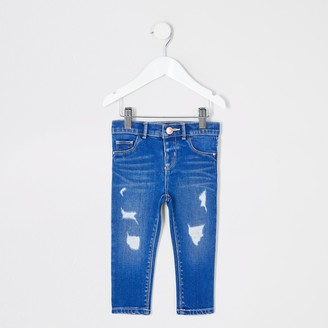 River Island Mini girls Blue ripped Molly jeans
