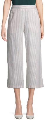 Max Studio Striped Linen Cotton Culottes