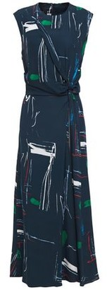 Cédric Charlier Knotted Zip-detailed Printed Crepe Midi Dress