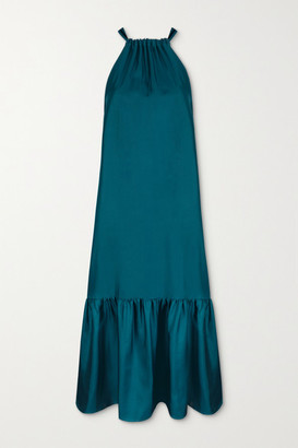 ASCENO Ibiza Tiered Silk-satin Halterneck Maxi Dress - Navy