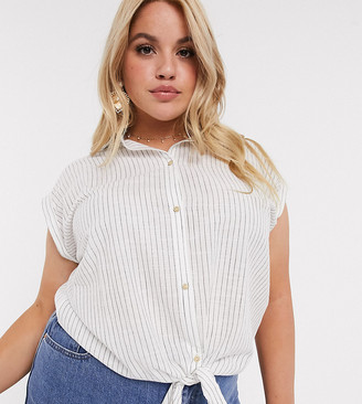 Wednesday's Girl Curve shirt with tie front in stripe