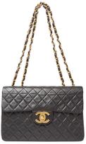 Chanel Black Lambskin Half Flap Maxi