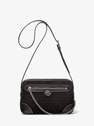 MICHAEL Michael Kors Monogramme Quilted Suede Crossbody Bag