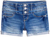 Vanilla Star Stacked Triple-Button Denim Shorts, Big Girls